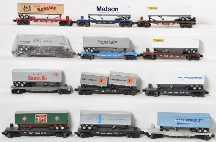 10 Lionel Flats with Trailers, 16911, 16910, 8399, 16940, 26098