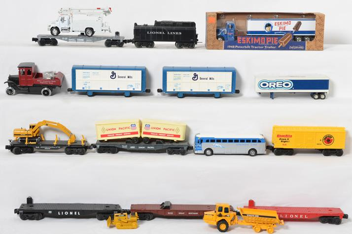 Large Group of Flat cars, Loads and Die Cast Vehicles