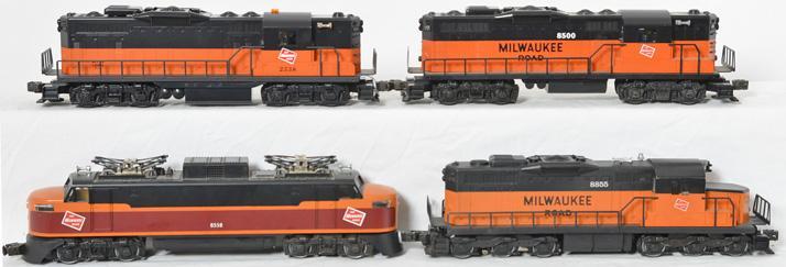 4 Lionel Milwaukee Road locomotives 18565, 18500, 8558, 8855