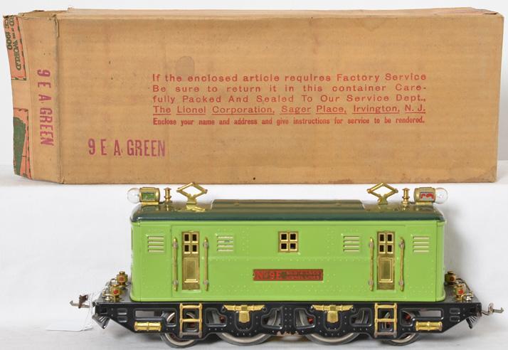 Lionel prewar standard gauge 9E Stephen Girard Green Locomotive with Original Box