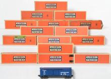 Fifteen Lionel postwar 6468 Baltimore and Ohio boxcars, boxes
