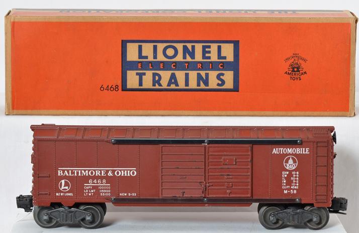 Unusual Lionel postwar O gauge 6468X tuscan B&O boxcar in OB