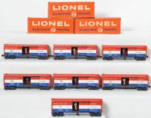 Seven Lionel 3428 US Mail operating boxcars, 3 boxes.