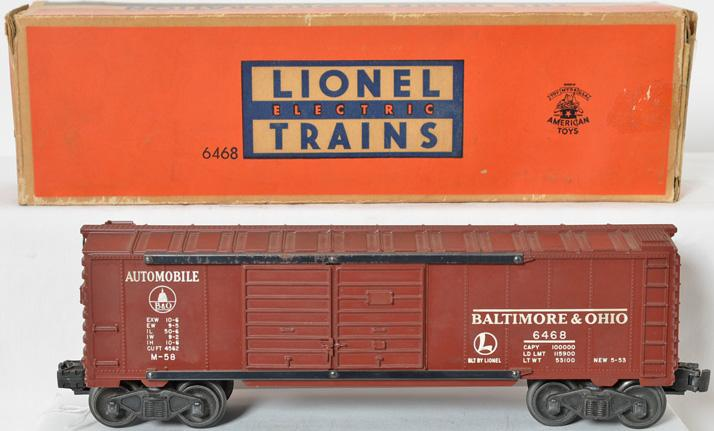Unusual Lionel 6468X tuscan Baltimore and Ohio boxcar in correct box
