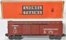 Unusual Lionel 6468X tuscan Baltimore and Ohio boxcar in correct box