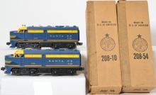 Lionel postwar 208 Santa Fe Alco AA units in OB