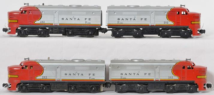 Two sets of Lionel 212 Santa Fe AA Alco units, four units altogether