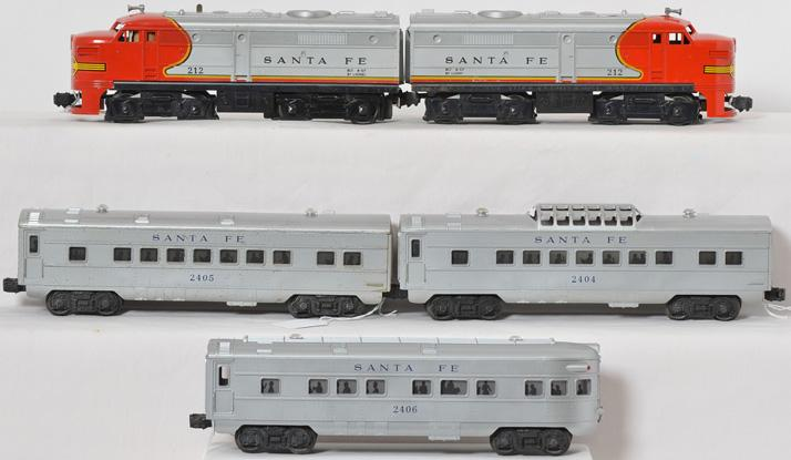 Lionel 212 Santa Fe AA set with 2404, 2405 and 2406 SF cars