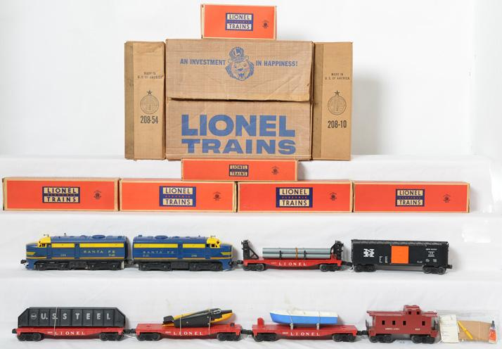 Lionel postwar O gauge boxed set 1605W with 208 SF Alco units