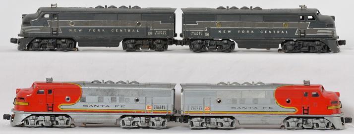Lionel 2343 Santa Fe F3 AA units and 2354 NYC F3 AA units