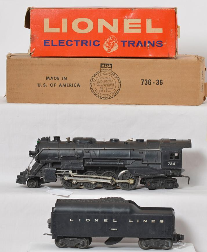 Lionel 736 steam locomotive with 2046W LL tender