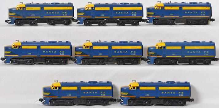 Four sets of Lionel 208 Santa Fe Alco AA units, 3 sets in boxes