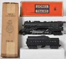 Lionel 736 steam loco with 2046W tender in OB
