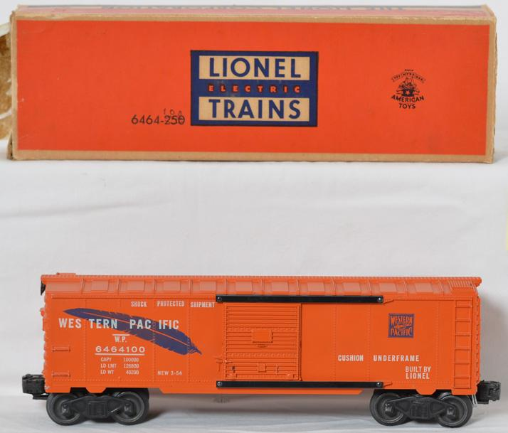 Lionel 6464-100 orange with blue feather WP boxcar