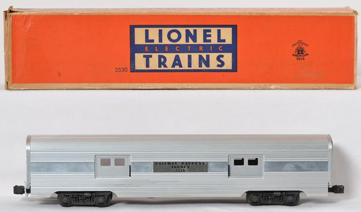 Lionel 2530 aluminum baggage car in OB, center plate variation