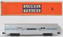 Lionel 2530 aluminum baggage car in OB, center plate variation