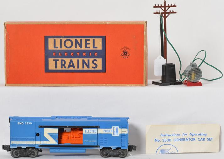 Lionel 3530 GM generator car with light pole, unrun, OB