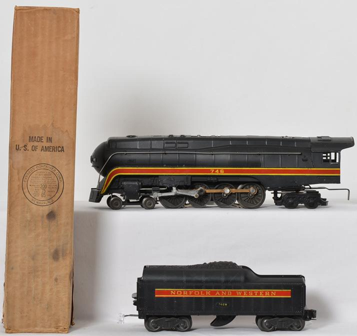Lionel 746 Norfolk and Western short stripe J-class locomotive and tender