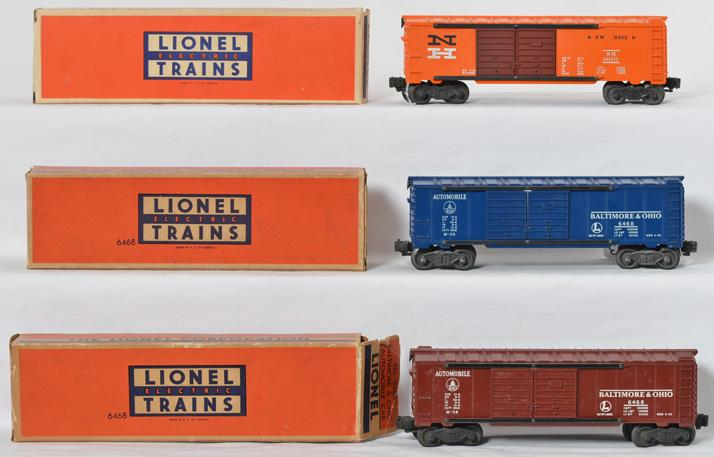 Three Lionel 6468 Baltimore and Ohio double door boxcar variations, OB