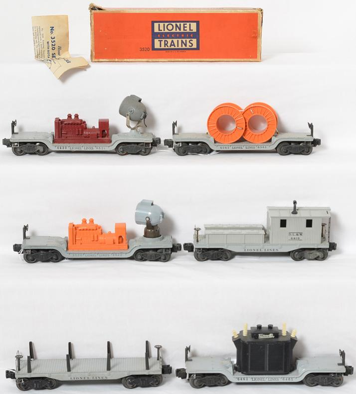 Lionel postwar O gauge freight cars 6520, 6561, 3520, 2411, 6461 and 6419