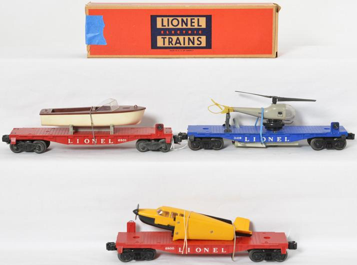 Lionel flatcar with airplane 6800, 3419 flat with copter, 6801 flat with boat