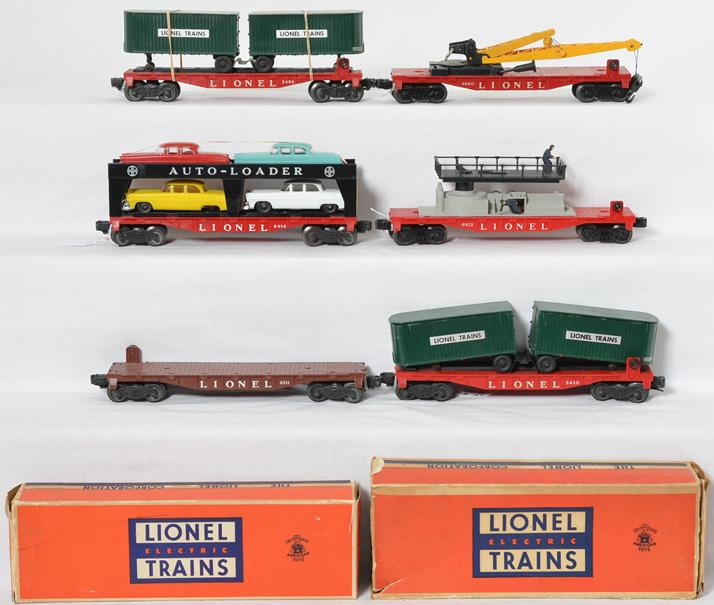 Lionel flatcars including 3460, 6430, 6311, 6414, 6812 and 6660