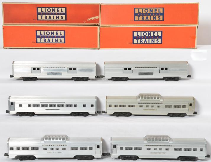 Lionel aluminum passenger cars 2530, 2532, 2532, 2532 and 2533