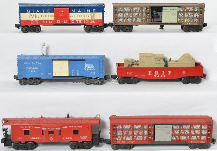 Lionel freight cars including 6464-275, 3434, 3444, 6434, 3424 and 6517