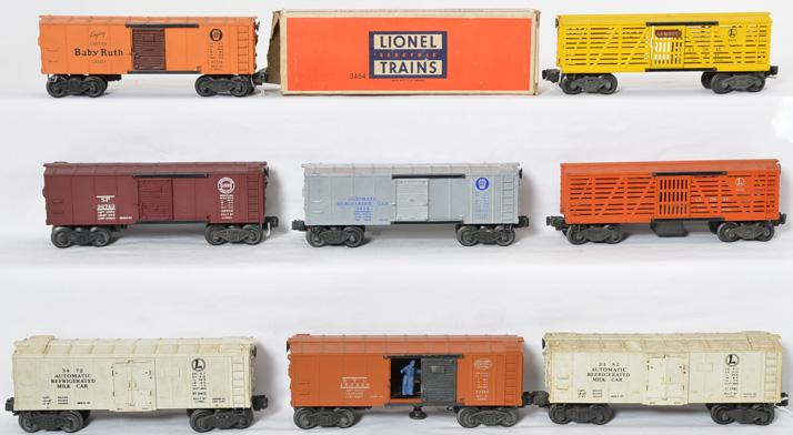 Lionel boxcars 3454, 6656, X6454, 3656, X3464, 3472, 3482 and X2454