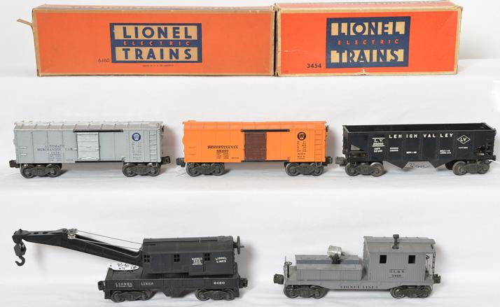 Lionel freight cars 6460, 6456, 2420, 3454 and tougher X2454 PRR