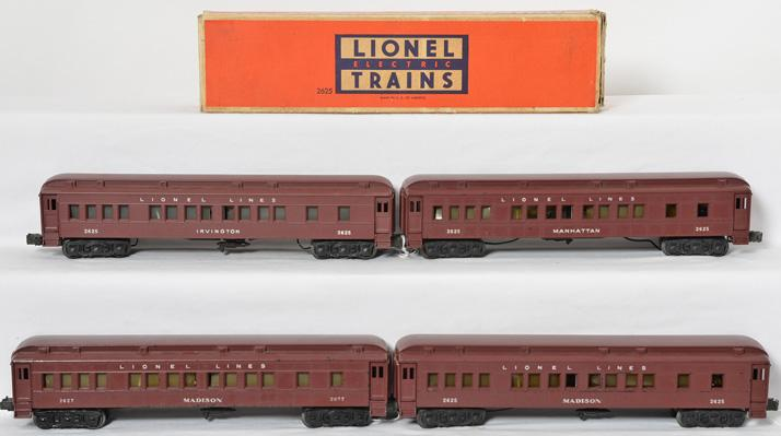 Lionel original Madison type cars 2625, 2627, 2625, 2625