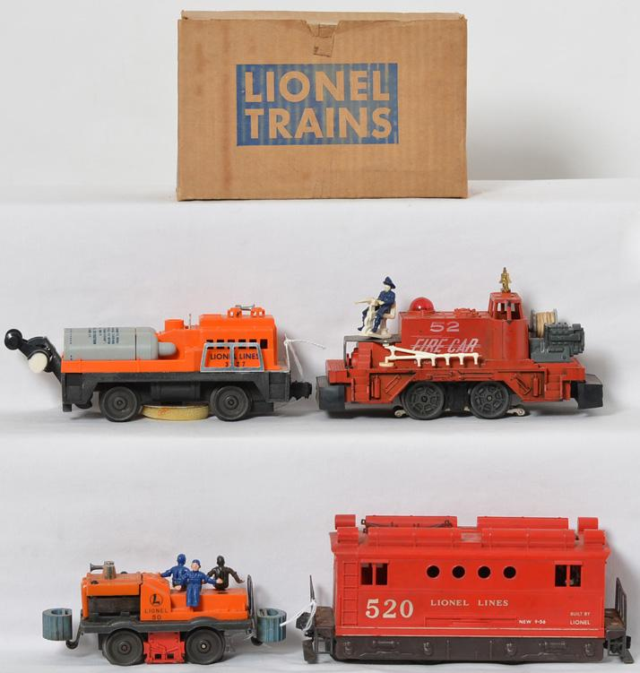 Lionel motorized units including 52 fire car, 50 gang, 520 and 3927 clean
