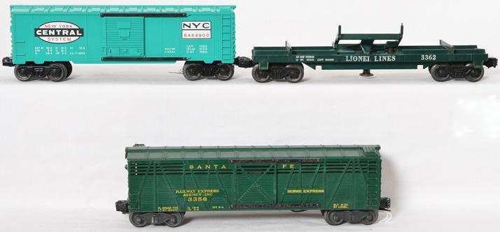 Lionel 6464-900 NYC boxcar, 3356 operating horse car, 3362 dump car