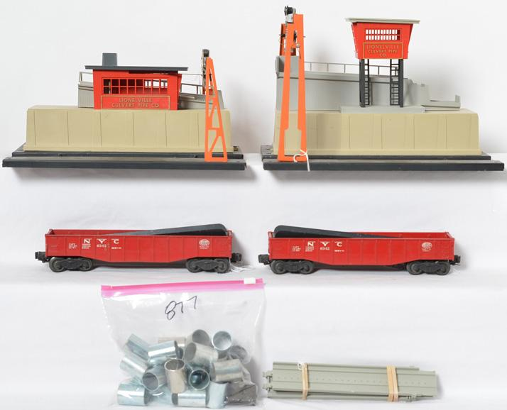 Lionel 342 and 345 culvert loader and unloader with cars