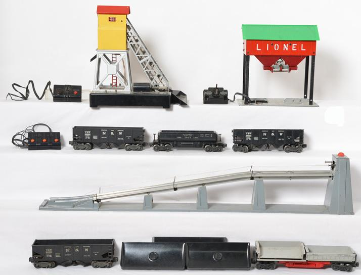 Lionel coal accessories and freight cars 456, 497, 97, 3456, 3359, 3469, etc