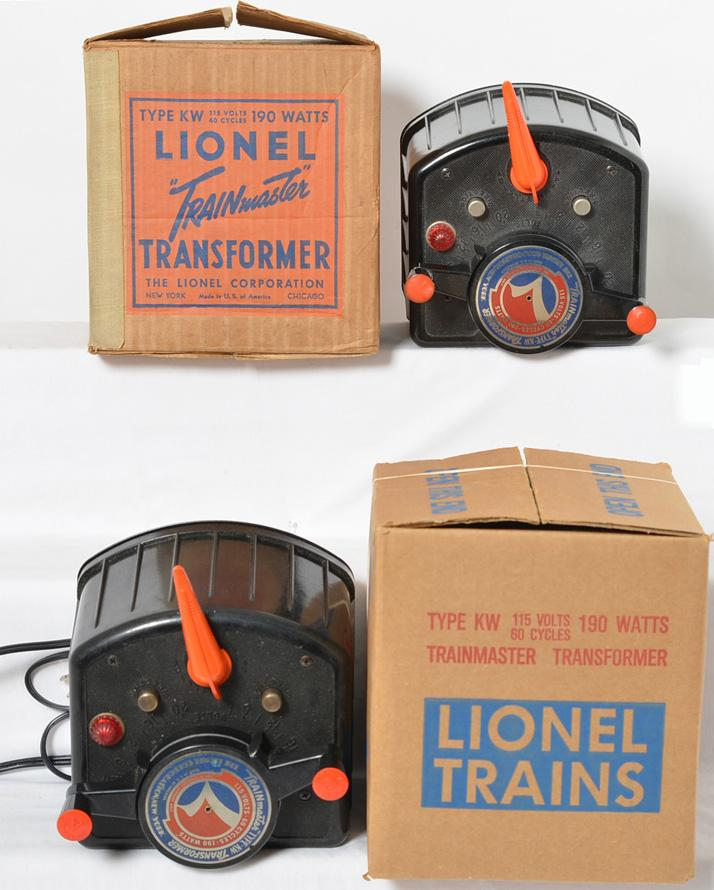 Two Lionel 190 Watt KW transformers.