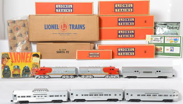 Beautiful Lionel 2234W boxed 2353 Santa Fe F3 aluminum passenger set