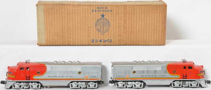Lionel Postwar O gauge 2343 Santa Fe A-A units w/ Original boxes and Master Carton