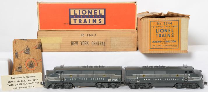 Lionel Postwar O Gauge 2344 New York Central A-A units w/ Boxes and Master Carton