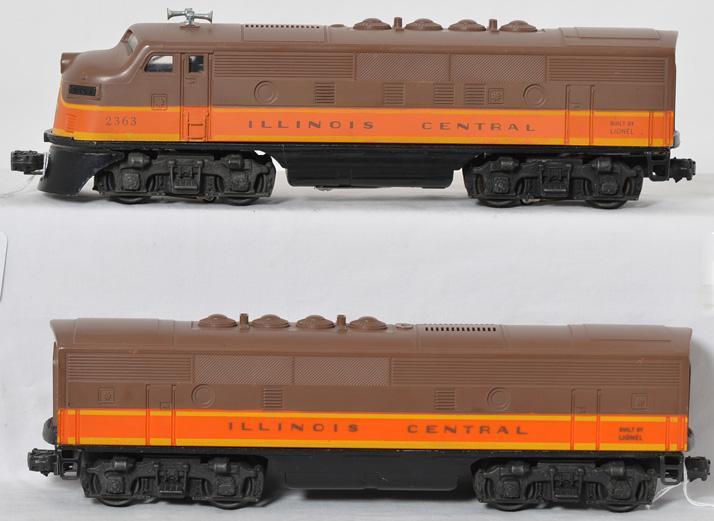Lionel Postwar O gauge 2363 Illinois Central F3 A-B Units w/ Tough Orange Shell B Unit