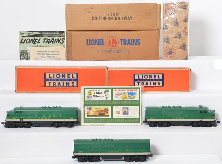 Lionel Postwar O gauge 2356 A-B-A Souther F3 Units with individual Boxes and Master Carton