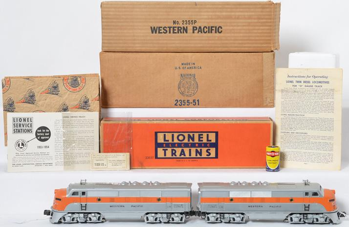 Lionel Postwar O gauge 2355 Western Pacific A-A Units w/ Individual Boxes and Master Carton