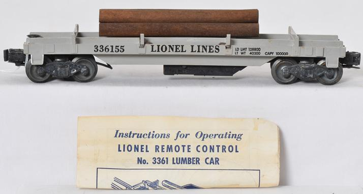 Lionel Postwar O gauge 3361 Operating Lumber Car with Original Box