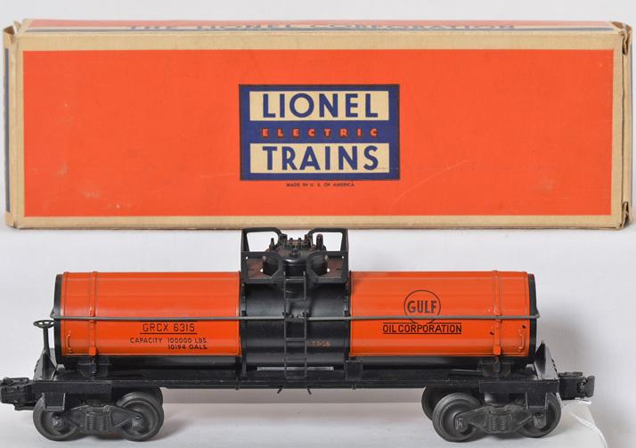 Lionel Postwar O gauge 6315 GLOSSY Orange Gulf Tank Car with Original Box
