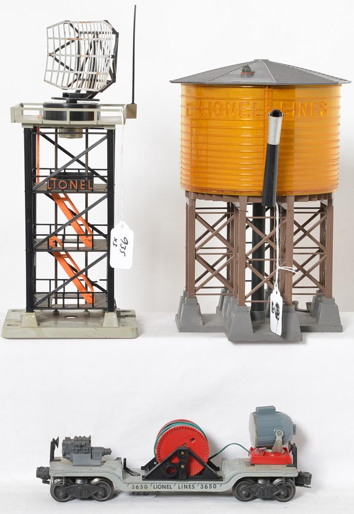Lionel 30 water tower, 3650 searchlight car, 197 radar tower