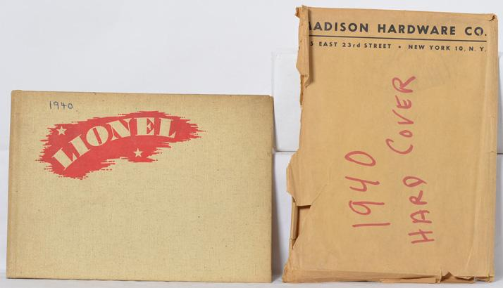 Lionel 1940 spiral bound advance catalog with unique Madison Hardware envelope