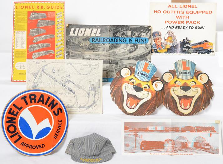 Group of Lionel dealer paper, window banner, fold outs, Lenny masks, etc
