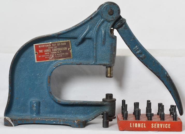 Lionel ST350 dealer service station rivet press and holder