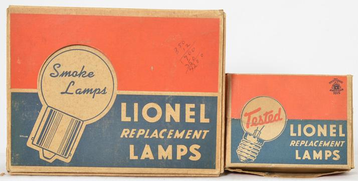 Lionel dealer bulbs 64-15 opal lamp box and 671-75 smoke bulb box
