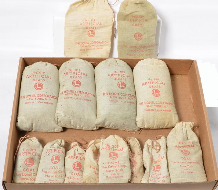 Group of new bags of postwar 919 grass 206 and 207 coal